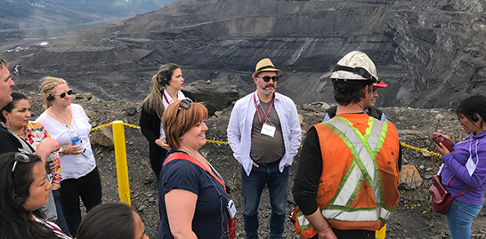 Mayor Lori Ackerman visits the Conuma Coal site in Tumbler Ridge with delegates from CISAL.