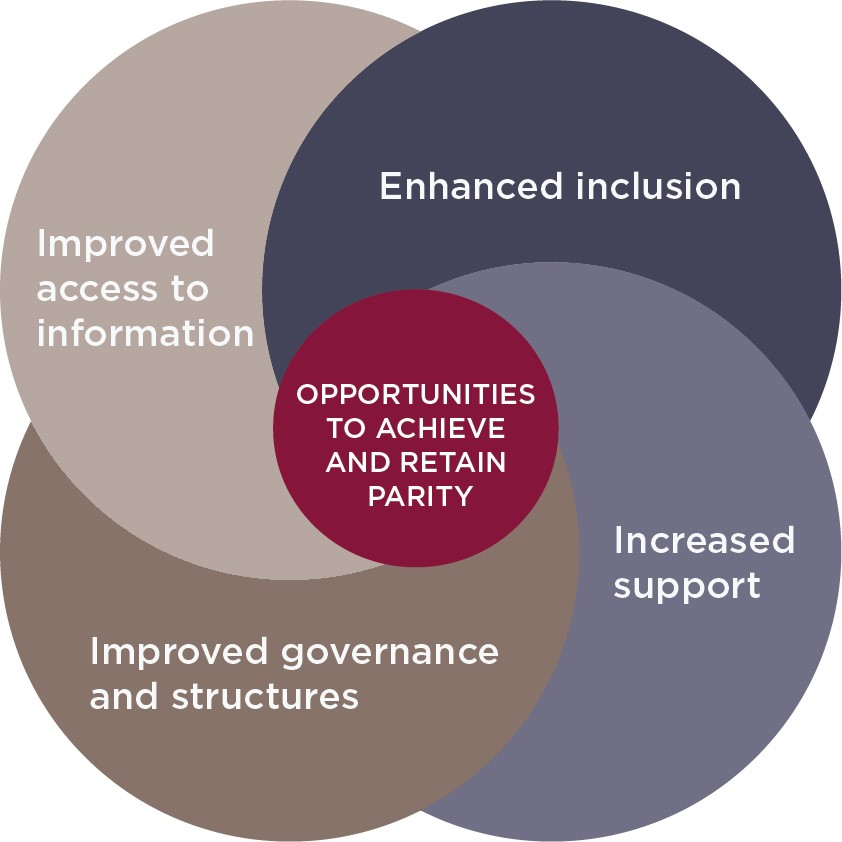 """This is the principal graphic of the document and showcases the four pillars previously defined.  The graphic has the four pillars surrounding in a slight swirl around a central circle stating the objective of """"Opportunities to achieve and retain parity"""". Each pillar is represented on a circle overlapping with the others and showing the inter-connective nature of each of these pillars. To the left of the graphic contains the four headings of the pillars with a few key examples listed beneath each one."""